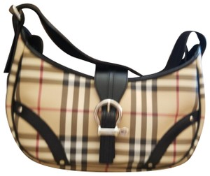 Burberry London Satchel in Cream with black and white stripes, also red