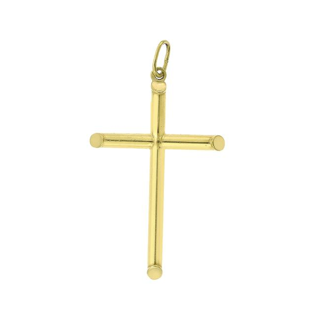 Item - 14k Yellow Gold Solid Tubular Cross Pendant Italy Necklace
