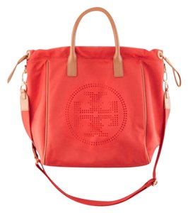Tory Burch Perforated Logo Tote in Flame Red