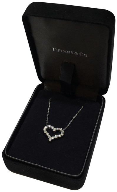 Tiffany & Co. Silver Diamond Heart In Platinum 0.54ct. Necklace Tiffany & Co. Silver Diamond Heart In Platinum 0.54ct. Necklace Image 1
