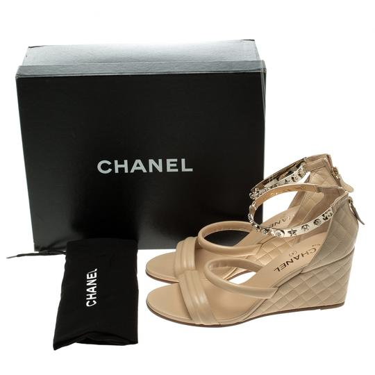 033e26e8bf93 Chanel Quilted Leather Charm Embellished Ankle Beige Sandals Image 7