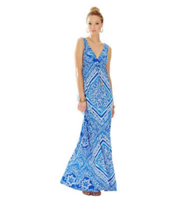 Item - Blue and White Miraflora Long Casual Maxi Dress Size 12 (L)