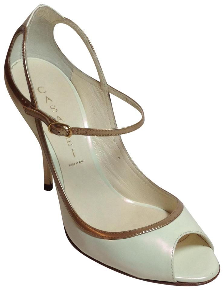 fc82661fea7 Casadei Pearl/ Gold Patent Leather Ankle Strap Pearl-Gold Pumps Image 0 ...