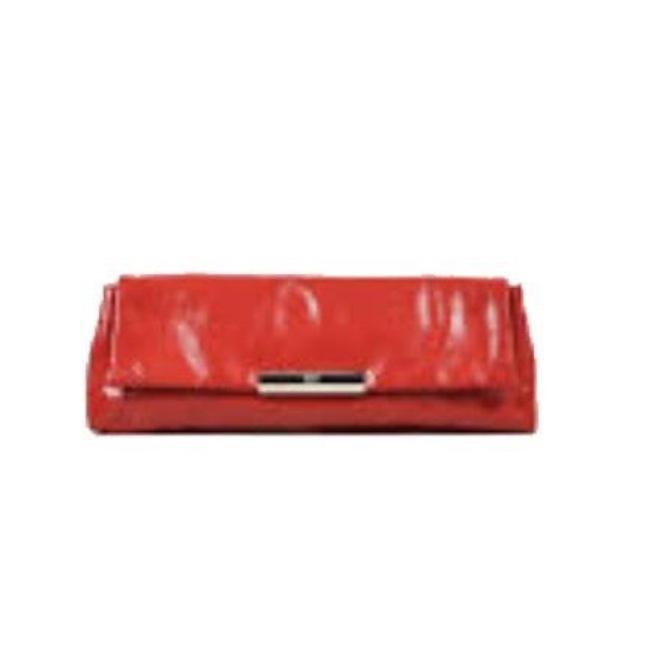 Alexander McQueen Perforated Patent Red Leather Clutch Alexander McQueen Perforated Patent Red Leather Clutch Image 1