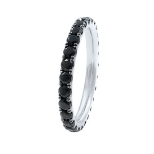 Gavriel's Jewelry 18K White Gold Scoop Pave Round Black Diamond Eternity Band 1.37cts