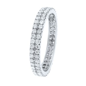 Gavriel's Jewelry Double Row Scoop Micro Pave Round Diamond Eternity Band 18K White Gold