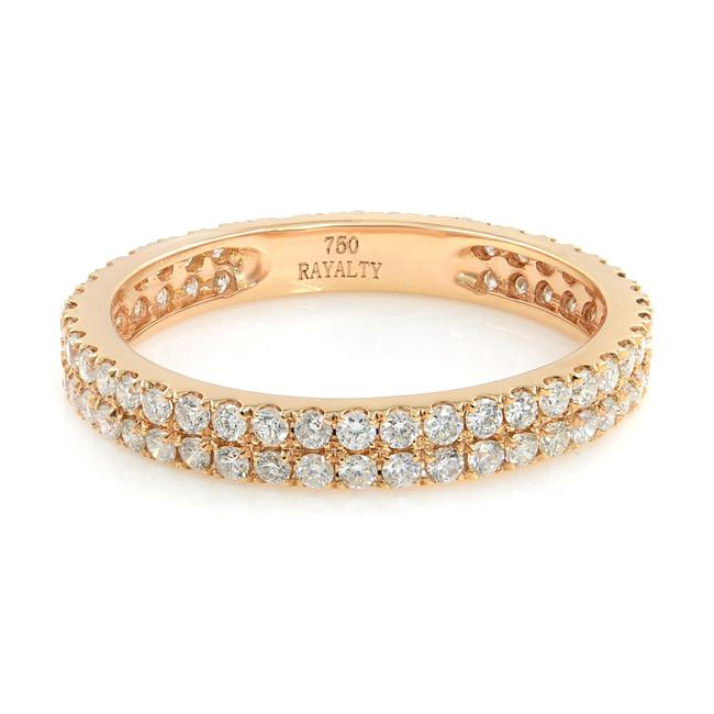 Item - 18k Rose Gold Double Row Scoop Micro Pave Round Diamond Eternity Band Ring