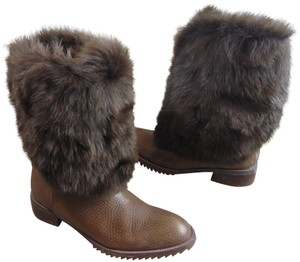 Pedro Garcia Fur Leather Brown Boots