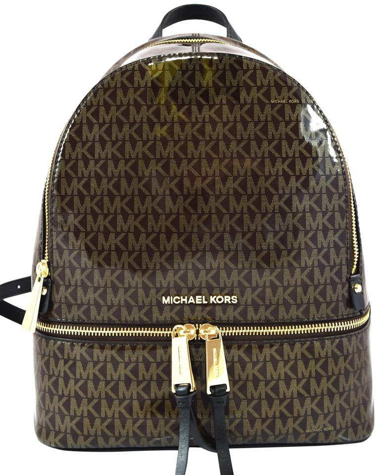 cdd2f9a2f84dc5 Michael Kors Rhea Zip Medium Brown/Gold Leather Backpack - Tradesy