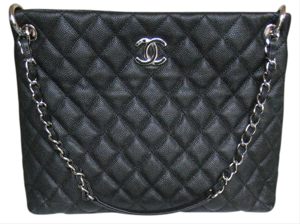 4f00a4f897a Chanel Shopping Tote Easy Caviar Large Zip Grand Shop Zip Black Leather  Shoulder Bag