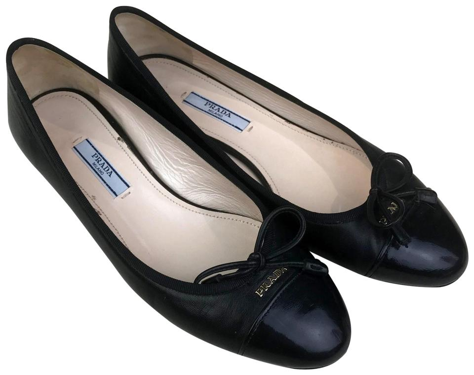 12eb0bb819 Prada Black Leather Cap Toe Bow Ballerina Ballet Flats Size EU 36 ...