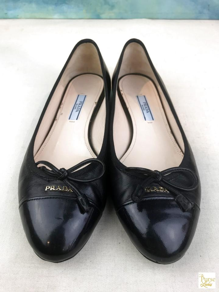 5d5237231b Prada Black Leather Cap Toe Bow Ballerina Ballet Flats Size EU 36 (Approx.  US 6) Regular (M, B) - Tradesy