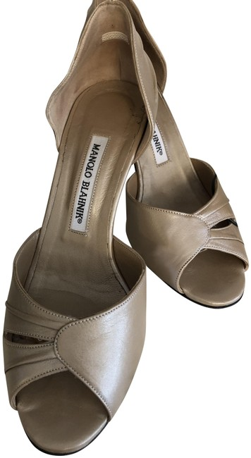 Item - Tan/Stone Tan/Stone Leather Open Toe Heels Pumps Size EU 37 (Approx. US 7) Regular (M, B)