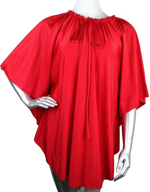 Item - Red Womens Polyamide/Elastane Pleated Spandex It 42 470881 6400 Mid-length Short Casual Dress Size 6 (S)