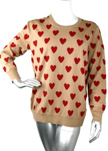 Burberry Women's Camel/Red Wool Crewneck Sweater