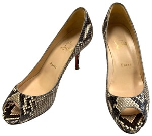 Christian Louboutin Snakeskin Leather Beige and Grey Pumps