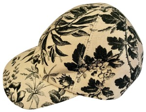 Gucci Beige/Black Canvas Baseball Cap with Floral Print M 408793 1000