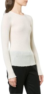 Vince Ribbed Cashmere Crewneck Pullover T Shirt Cream