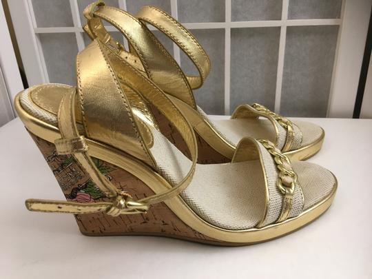 Coach Gold, Creme Wedges Image 7