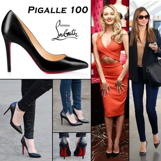 ece0e6e5f44 Details about Christian Louboutin Pigalle 100 Black Patent Leather Pumps EU  37.5 US 7