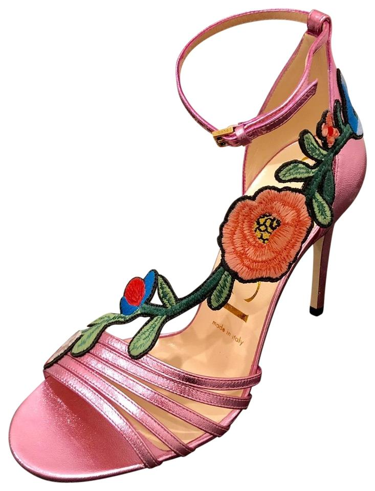 88ef7b41fd6 Gucci Ophelia Embroidered Leather Sandals Size EU 35 (Approx. US 5 ...