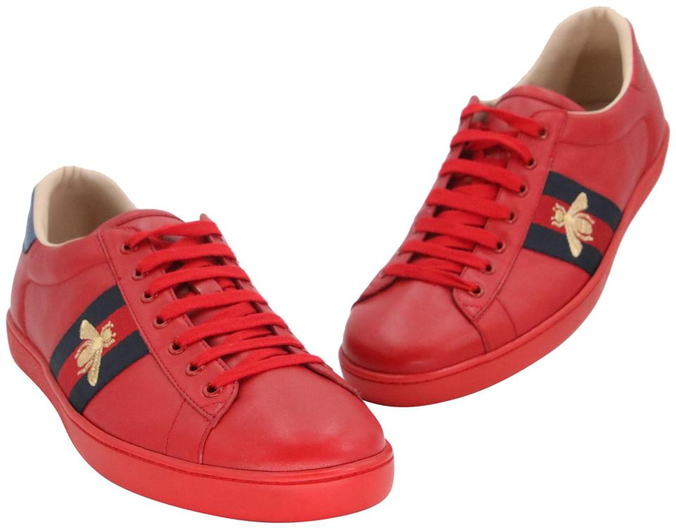 d4566071939 Gucci Red Calfskin Leather Ace-embroidered Bee Low Top Tennis Sneakers  Sneakers