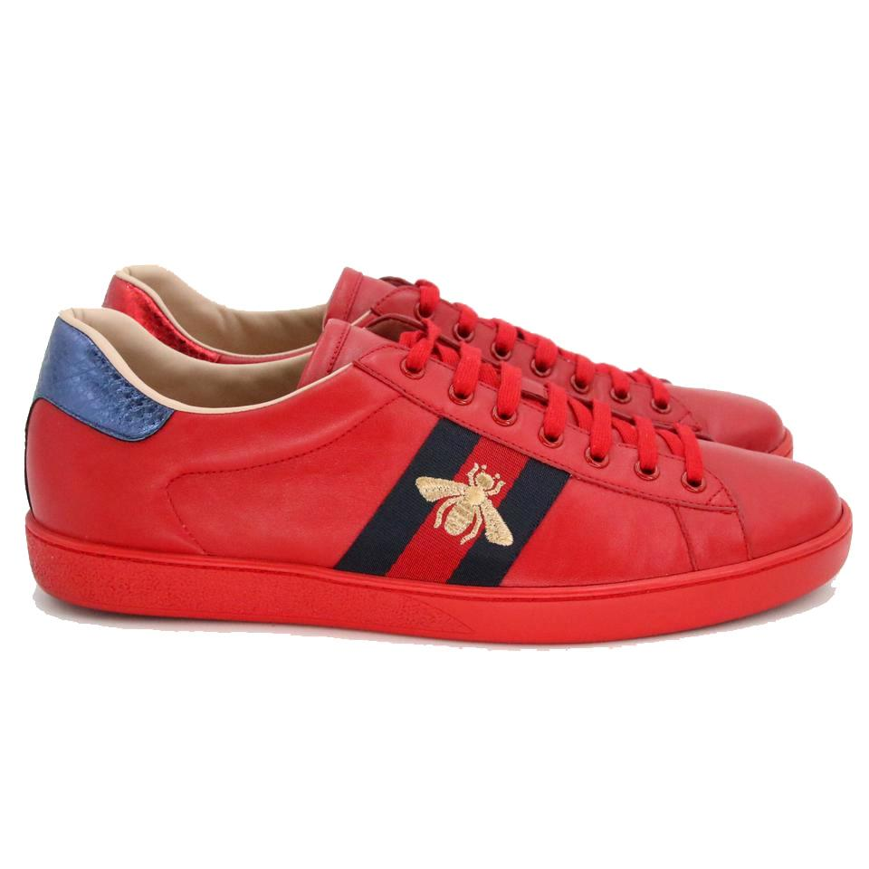6119538903d Gucci Red Calfskin Leather Ace-embroidered Bee Low Top Tennis ...