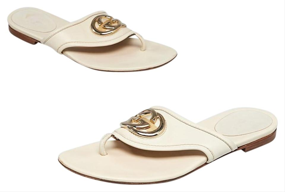 941af4506 Gucci White Leather Gg Buckle Flat Sandals Size EU 38 (Approx. US 8 ...