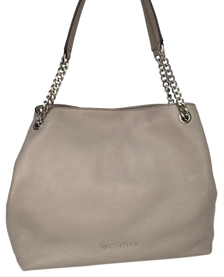 2a4498debcb6 Michael Kors Shoulder Large Chain Pebbled Pearl Grey Leather Hobo ...