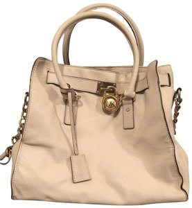 539417a31712e7 Michael Kors Soft Leather Travel Satchel Tote in Ivory, Cream