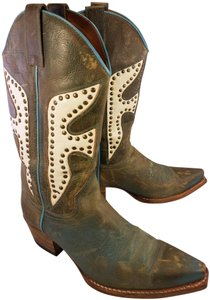 Frye Western Cowboy Distressed Leather Studded green and blue Boots