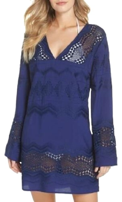 Item - Navy Sheer Lace Tunic Small Cover-up/Sarong Size 6 (S)
