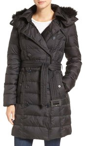c578f9516 Sam Edelman Faux Fur Down Belted Double Breasted Hooded Coat