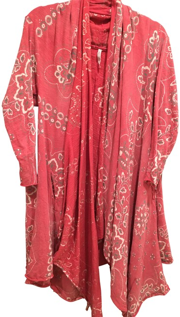 Item - Faded Red Grey Ivory Print Cardigan Size OS (one size)