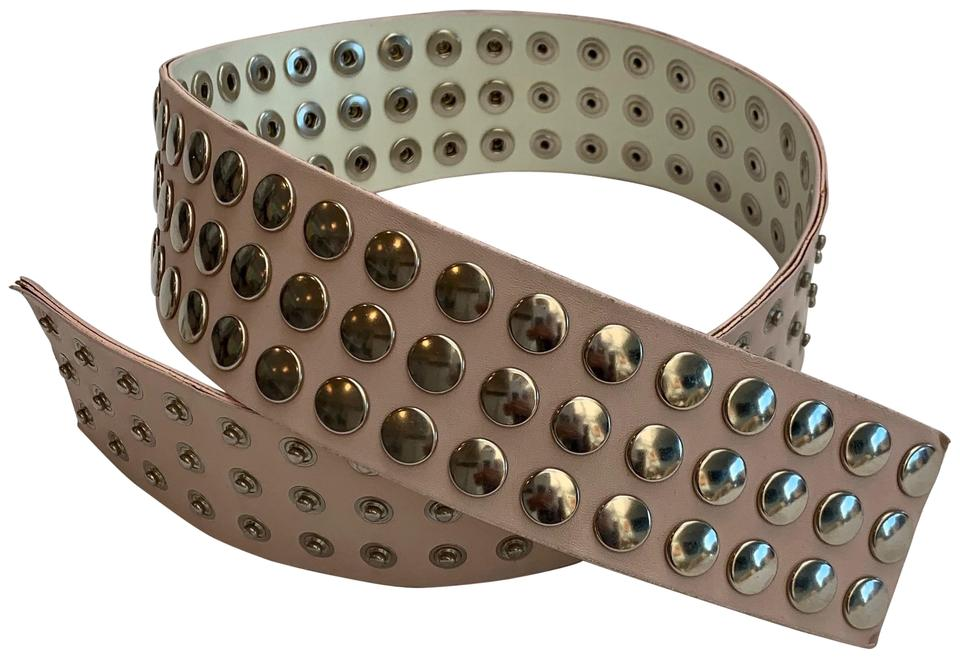 725bee7c3 LF PINK WIDE LEATHER BELT WITH HUNDREDS OF SILVER STUDS   SNAP FASTENERS  Image 0 ...
