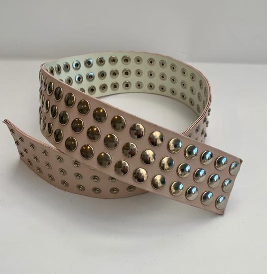 LF PINK WIDE LEATHER BELT WITH HUNDREDS OF SILVER STUDS & SNAP FASTENERS Image 2