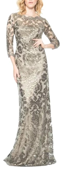 Item - Smoke Pearl Sequin Lace Gown Long Formal Dress Size 4 (S)