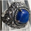 Carolyn Pollack Large Cocktail Lapis Lazuli 925 STER Silver Ring Image 0