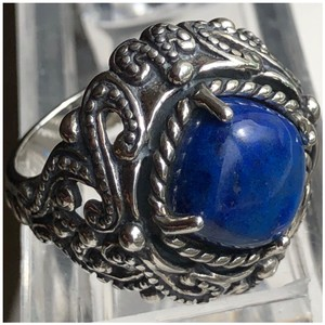Carolyn Pollack Large Cocktail Lapis Lazuli 925 STER Silver Ring