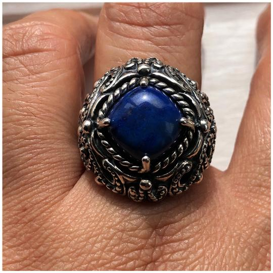Carolyn Pollack Large Cocktail Lapis Lazuli 925 STER Silver Ring Image 2