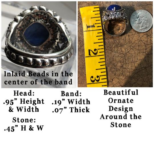 Carolyn Pollack Large Cocktail Lapis Lazuli 925 STER Silver Ring Image 4
