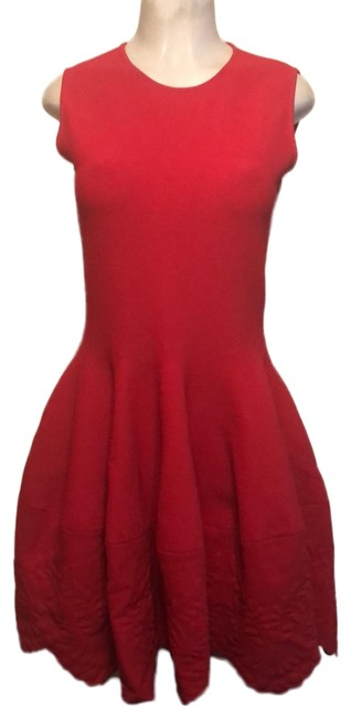 Item - Flame Red Embossed Mini Short Cocktail Dress Size 12 (L)