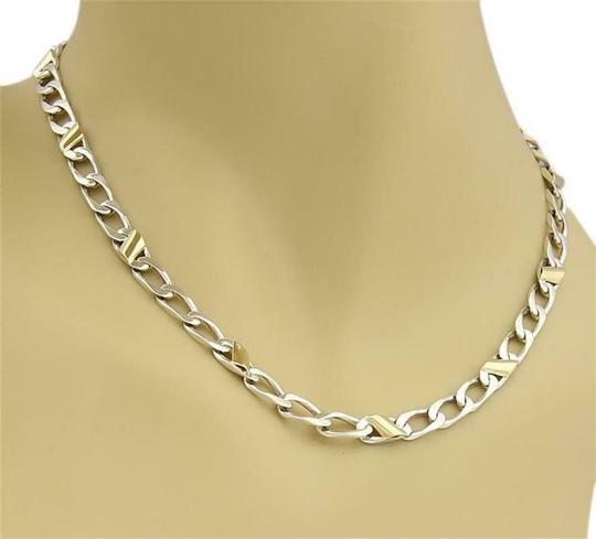 Tiffany & Co. Sterling Silver 18k Yellow Gold Curb Link Chain Necklace Image 2
