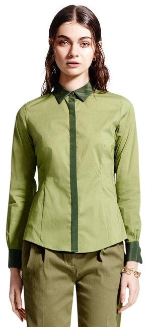 Preload https://img-static.tradesy.com/item/25267612/brooks-brothers-green-women-s-tailored-silk-collar-shirt-new-button-down-top-size-8-m-0-1-650-650.jpg