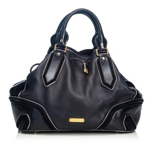 Burberry 9cbust018 Vintage Leather Satchel in Black