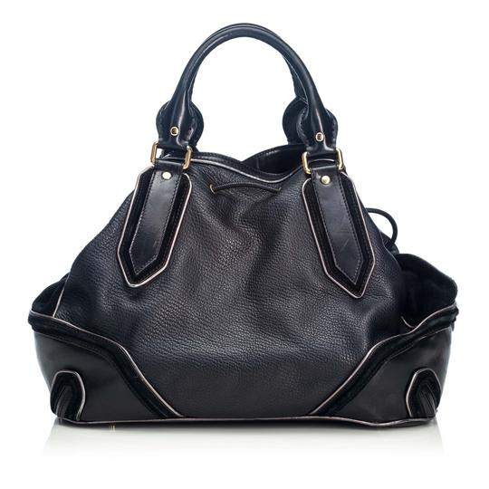 Burberry 9cbust018 Vintage Leather Satchel in Black Image 2