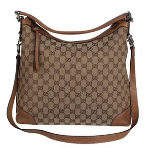Gucci Gg Miss Gg Leather Canvas Hobo Bag