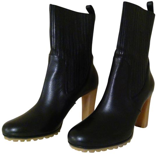 Gucci Expandable Shaft Leather Rubber Black Boots Image 1