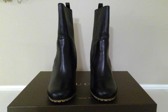 Gucci Expandable Shaft Leather Rubber Black Boots Image 2