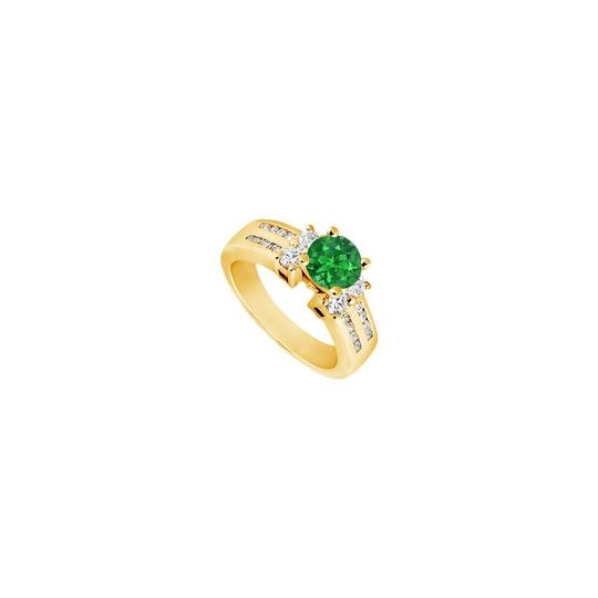 Preload https://img-static.tradesy.com/item/25267681/green-created-emerald-and-cubic-zirconia-engagement-14k-yellow-gold-17-ring-0-0-540-540.jpg